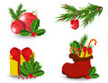 Set of christmas icons on a white background Stock Photography