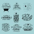 Set of 9 Christmas inscriptions with lettering O holy night. Joy, hope, love, peace. Season greetings.