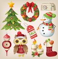Set of christmas items and characters Stock Photo