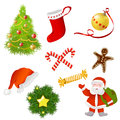 Set of christmas items vector illustration Royalty Free Stock Image