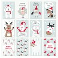 Set of Christmas and New Year cards