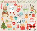 Set of Christmas and New Year elements with animals and Santa