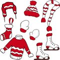 Set of Christmas and New Year elements with animals and Santa. Vector illustration. Royalty Free Stock Photo