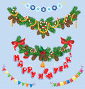 Set of christmas and new year garlands with horse toy bell bows ribbons sweets candies Stock Images