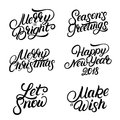 Set of Christmas and New Year 2018 hand written lettering quotes. Royalty Free Stock Photo