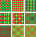 Set of christmas and new year plaid seamless patte patterns in red green colors Stock Photos