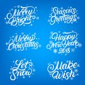 Set of Christmas and New Year 2018 quotes. Hand written lettering with falling snow and snowflakes. Royalty Free Stock Photo