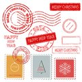 Set of christmas and new year stamps vector illustration Stock Photos