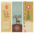 Set of Christmas and New Years banners Stock Images