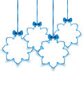 Set Christmas paper snowflakes with bows, on white back Royalty Free Stock Photo