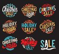 Christmas sale chalkboard background with holiday decorations. Royalty Free Stock Photo