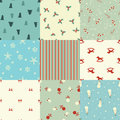 Set of christmas seamless patterns in retro style Royalty Free Stock Photo