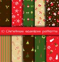 Set of christmas seamless patterns vector illustration Stock Image