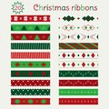 Set of Christmas seamless ribbons in Green, Red and White Royalty Free Stock Photo