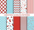 Set of Christmas seamless vector patterns Royalty Free Stock Photo