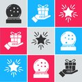 Set Christmas snow globe with fallen snow, Gift box in hand and Christmas star icon. Vector Royalty Free Stock Photo