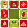 Set of Christmas stamp postage Stock Photo