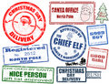 Set of Christmas stamps Stock Photography