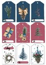 A set of Christmas tags. Blue, red and white tags with Christmas objects. And spaces for writing.