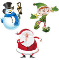 Set christmas themed cartoon characters santa clause snowman elf Stock Image