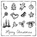 Set of christmas themed elements ink drawings decorations for icons or design Royalty Free Stock Photo