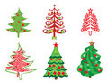 Set of christmas trees Stock Images