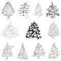 Set of christmas trees for design and scrapbook in Stock Images