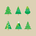 Set of Christmas trees - vector illustration Royalty Free Stock Photo