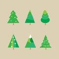 Set of Christmas trees - vector illustration Royalty Free Stock Photo