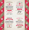 Set of christmas type designs and flat icons with long shadow holidays illustration Royalty Free Stock Photos
