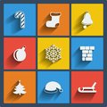 Set of christmas web and mobile icons vector in flat design Stock Photo