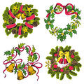 Set of christmas wreath for design and scrapbook in Royalty Free Stock Images
