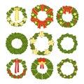 Set of christmas wreaths isolated on white background. Vector illustration