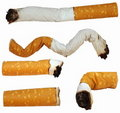 Set Cigarette butts isolated on white background Royalty Free Stock Photo