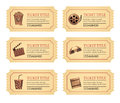 Set cinema movie tickets. Old vintage tickets labels with popcorn food and drink and other icons Royalty Free Stock Photo