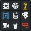 Set of 9 cinema web and mobile icons. Vector. Royalty Free Stock Photo