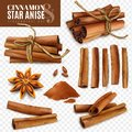 Cinnamon Star Anise Transparent Set Royalty Free Stock Photo