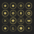 Set of circle border decorative symbol patterns and design elements for frameworks badges tags banners Stock Image