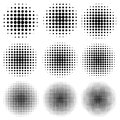 Set circle effect halftone dot pattern, vector to create a pop art design, comic rays style halftone Royalty Free Stock Photo