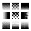 Set of circle halftone element, monochrome abstract graphic for DTP, prepress or generic concepts. Vector illustration. Isolated