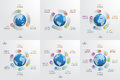 Set of circle infographic templates with globe. Business concept Royalty Free Stock Photo