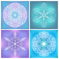 Set of circle lacy patterns four round symmetric ornaments line art doodles fragile elements on vivid colorful square backgrounds Stock Image