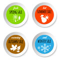 Set of circle paper labels with four season sale icons Royalty Free Stock Photo