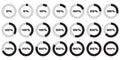 Set of circle percentage diagrams for infographics, 0 5 10 15 20 25 30 35 40 45 50 55 60 65 70 75 80 85 90 95 100 percent
