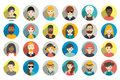 Set of circle persons, avatars, people heads  different nationality in flat style. Royalty Free Stock Photo