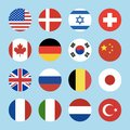 Set of 16 circle world flags icons isolated on blue background