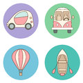 Set of circles with cartoon transport illustrations