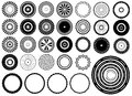 Set circles design elements illustrated white Royalty Free Stock Photos
