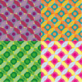 Set of circles and flowers patterns four versions a seamless geometric pattern Stock Images