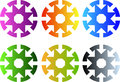 Set of circular icons with eight arrows to center